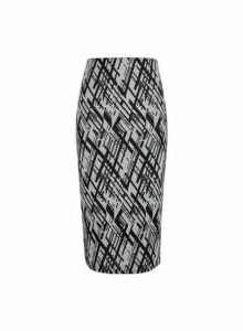 Womens Grey Abstract Jacquard Print Pencil Skirt- Grey, Grey
