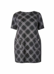 Womens **Dp Curve Multi Colour Checked Shift Dress- Multi Colour, Multi Colour