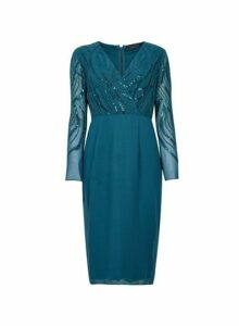 Womens **Showcase Green 'Georgie' Wrap Midi Dress- Green, Green