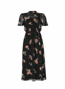 Womens Black Floral Print Belted Fit And Flare Dress, Black