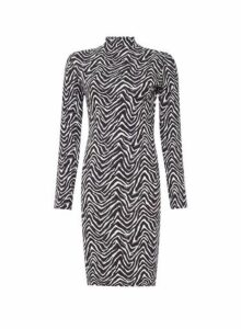 Womens Monochrome Zigzag Print Bodycon Dress- Black, Black