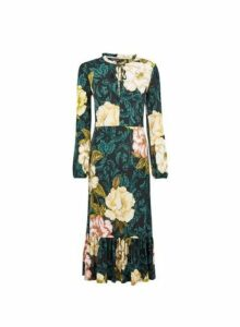 Womens Multi Colour Floral Print Jersey Midi Dress- Green, Green