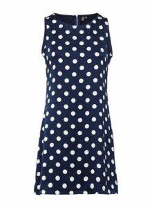 Womens *Izabel London Navy Polka Dot Print Shift Dress- Navy, Navy