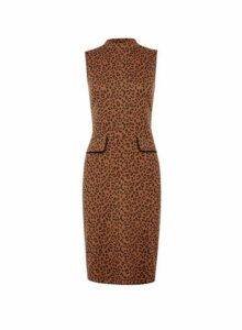 Womens Brown Leopard Print Shift Dress- Brown, Brown