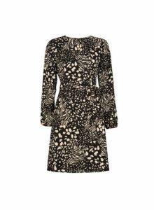 Womens Black Nova Print Pleat Neck Dress, Black
