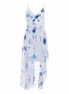 Womens *Quiz Blue Floral Dip Hem Dress- Blue, Blue