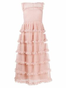 Red Valentino tiered ruffle dress - Neutrals