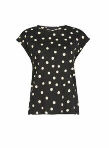 Womens Petite Black Spot Print Cotton T-Shirt- Black, Black