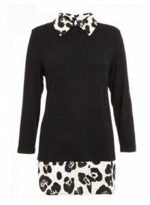 Womens *Quiz Leopard Print Shirt Knit Top- Black, Black