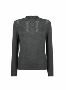 Womens Grey Pointelle Ruffle Jumper, Grey