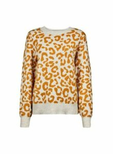 Womens Yellow Leopard Print Jumper- Orange, Orange