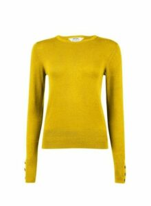 Womens Petite Chartreuse Button Cuff Jumper- Green, Green