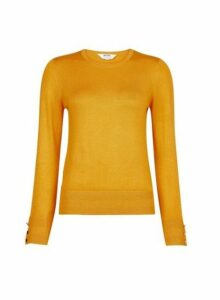 Womens Petite Yellow Button Detail Jumper- Orange, Orange