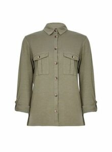 Womens Khaki Button Cotton Utility Shirt, Khaki