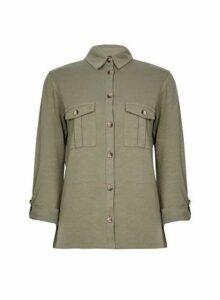 Womens Khaki Button Utility Shirt- Khaki, Khaki