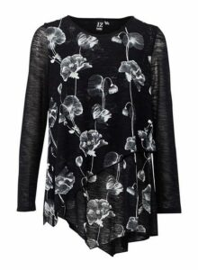 Womens *Izabel London Black Floral Print Asymmetric Top- Black, Black