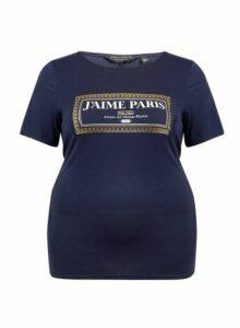 Womens **Dp Curve Navy Jaime Motif Tee- Blue, Blue