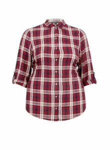 Womens **Dp Curve Red Check Print Shirt- Red, Red