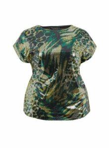Womens **Dp Curve Multi Colour Sequin Tee- Green, Green