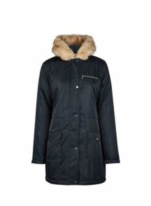 Womens Navy Faux Fur Hood Parka Coat- Navy, Navy