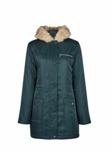 Womens Forest Green Faux Fur Hood Parka Coat- Green, Green