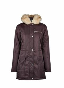 Womens Burgundy Faux Fur Hood Parka Coat- Red, Red