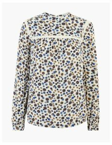 M&S Collection Floral Print Lace Insert Blouse