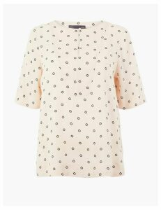 M&S Collection Printed Button Detail Top