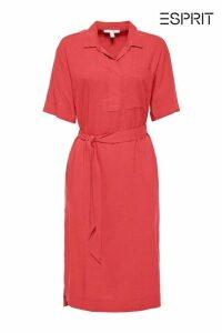 Womens Esprit Red Linen Blend Shirt Dress -  Red