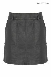 Womens Mint Velvet Grey Smoke Leather Mini Skirt -  Grey