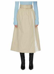 'Leonid' belted quilt panel midi skirt