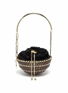 'Kingham' top handle glass crystal drawstring dome bag