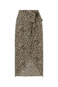 Womens Oasis Animal Leopard Wrap Midi Skirt -  Animal