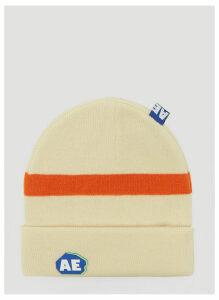 Ader Error Knitted Logo Beanie Hat in Cream size One Size