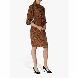 L.K.Bennett Isobel Silk Coral Print Dress, Chocolate