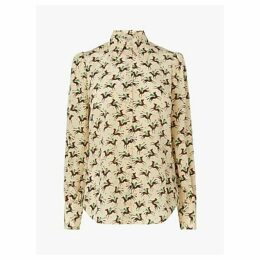 L.K.Bennett Sonya Polo Print Silk Blouse, Cream
