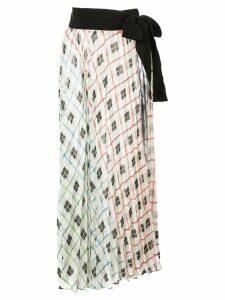 Silvia Tcherassi geometric print pleated skirt - White