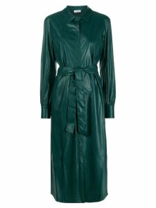 Twin-Set faux leather long shirt dress - Green