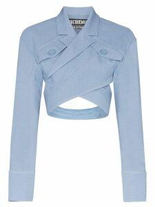 Jacquemus Cross Front Pocketed Cropped Silk Blouse - Blue