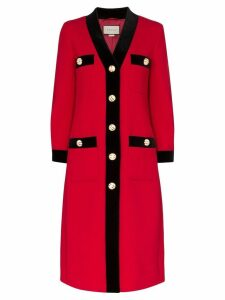 Gucci velvet trim single-breasted coat - Red