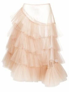 Simone Rocha layered ruffled sheer full skirt - Neutrals