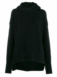 Isabel Benenato raised seam knit hoodie - Black