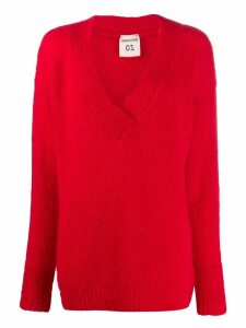 Semicouture oversized V-neck jumper - Red