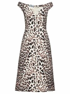 Prada leopard-print cady dress - Brown