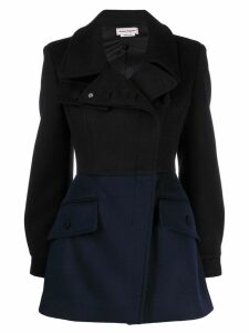 Alexander McQueen dual-tone fitted coat - Black