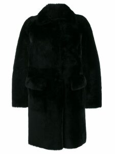 Desa 1972 long sleeve shearling coat - Black
