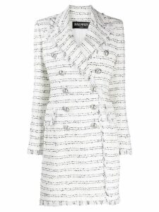 Balmain tweed double-breasted coat - White