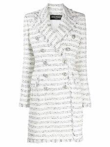 Balmain tweed double-breasted coat - White