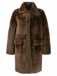 Desa 1972 long sleeve shearling coat - Brown