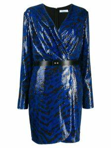 Blumarine sequinned wrap dress - Blue